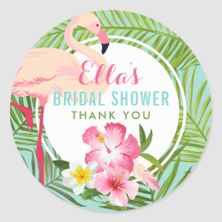 Bridal Shower | Tropical Flamingo Classic Round Sticker