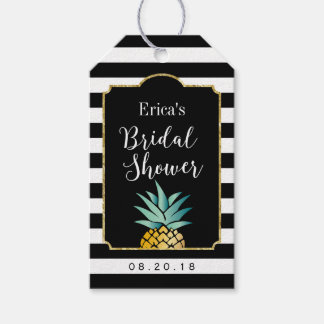 Bridal Shower Tropical Pineapple Modern Stripes Gift Tags