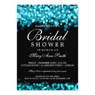 Bridal Shower Turquoise Lights 13 Cm X 18 Cm Invitation Card