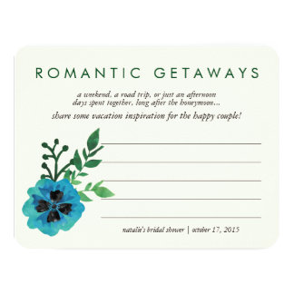 Bridal Shower Vacation Ideas Card | Blue Floral