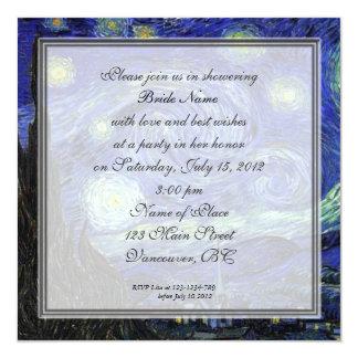 Bridal Shower,Vincent van Gogh, Starry Night 13 Cm X 13 Cm Square Invitation Card