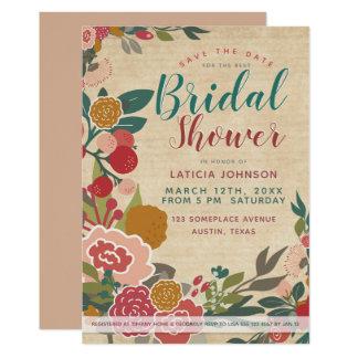 Bridal Shower • VIntage Floral Teal Wild Flowers Card