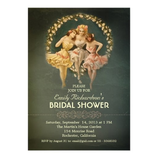 bridal shower vintage girls invitations