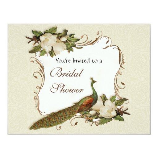 Bridal Shower - Vintage Peacock & Magnolia Swirl 11 Cm X 14 Cm Invitation Card