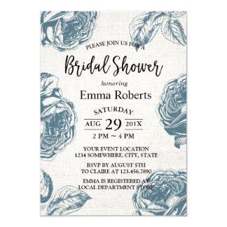 Bridal Shower Vintage Rose Floral Elegant Linen Card