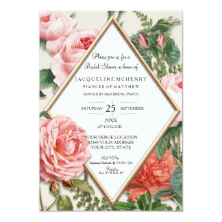 Bridal Shower Vintage Roses Floral Rose Gold Taupe Card