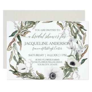 Bridal Shower Watercolor Anemone Olive Leaf Wreath Card