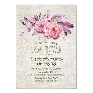 Bridal Shower Watercolor Boho Floral Feather Linen Card