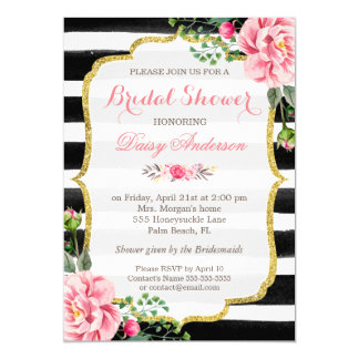 Bridal Shower Watercolor Floral Gold Glitter Decor 13 Cm X 18 Cm Invitation Card