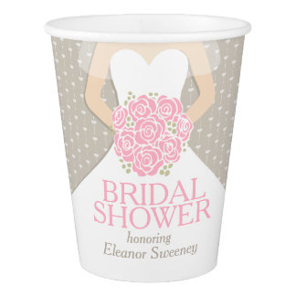 Bridal shower wedding dress pink shower cups