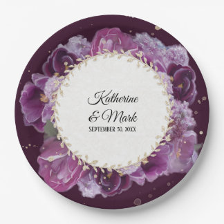 Bridal Shower Wedding Violet Purple Floral Wreath Paper Plate