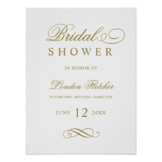 Bridal Shower Welcome Sign | Gold Elegant
