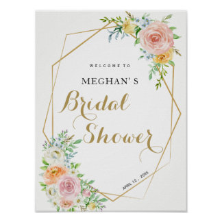 Bridal Shower welcome sign | pastel flowers gold