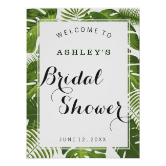 Bridal Shower welcome sign   tropical leaves