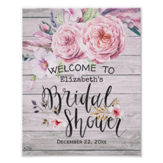 Bridal Shower Welcome Watercolor Boho Floral  Wood Poster