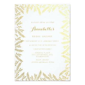 Bridal Shower White Gold Foil Leaves 11 Cm X 16 Cm Invitation Card