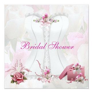 Bridal Shower White Pink Corset Floral 13 Cm X 13 Cm Square Invitation Card