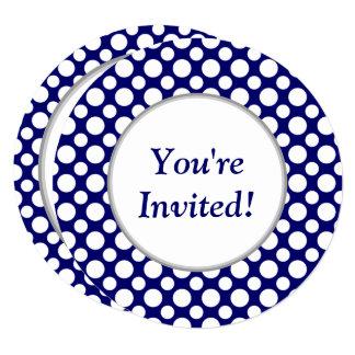 Bridal Shower White Polka Dots on Blue Invitation