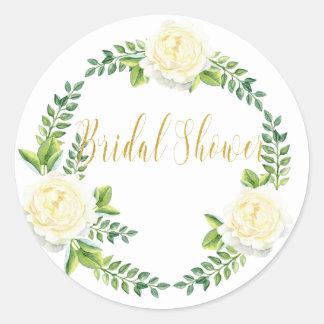 Bridal shower - White Roses Classic Round Sticker
