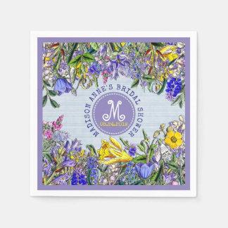 Bridal Shower Wildflowers Monogram Vintage Floral Disposable Serviette