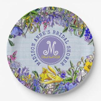 Bridal Shower Wildflowers Monogram Vintage Floral Paper Plate