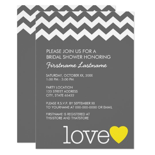 Bridal Shower with modern chevrons and heart Card