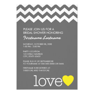 Bridal Shower with modern chevrons and heart Personalized Announcement