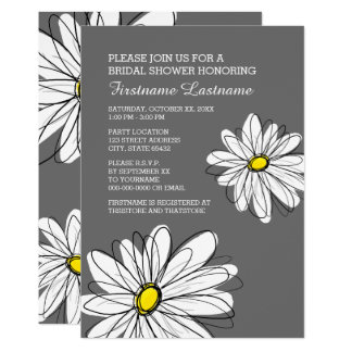 Bridal Shower with Modern Daisy Flowers Card