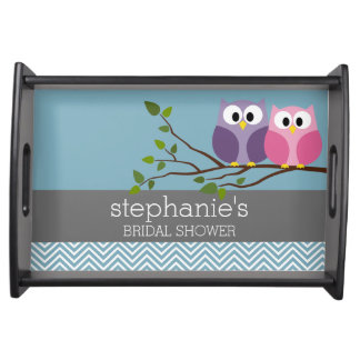Bridal Shower with Owl Couple on Branch Serving Tray