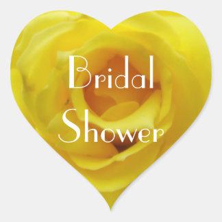Bridal Shower Yellow Rose Heart Sticker