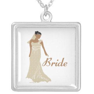 Bridal Square Pendant Necklace