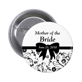 Bridal Swirls Bridal Party Black 6 Cm Round Badge