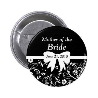 Bridal Swirls Bridal Party White Pinback Buttons