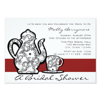 Bridal Tea Shower 13 Cm X 18 Cm Invitation Card