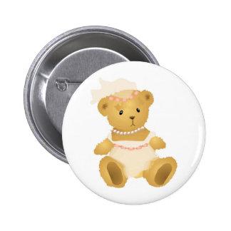 Bridal Teddy Bear 6 Cm Round Badge