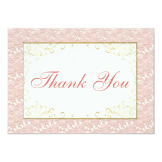 Bridal Thank You card Pink lace, Ivory, Gold Personalized Invitations