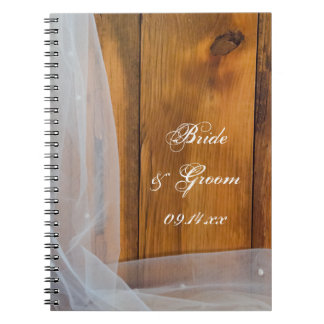 Bridal Veil and Barn Wood Country Wedding Spiral Notebook