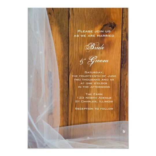 Bridal Veil Barn Wood Country Wedding Invitation