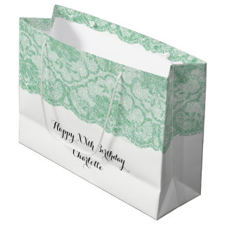 Bridal Wedding Birthday Mint Green Floral Lace Large Gift Bag