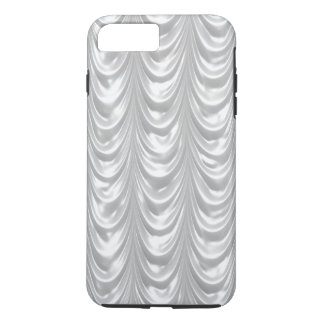 Bridal White Ruched Satin Fabrc Scalloped Pattern iPhone 7 Plus Case