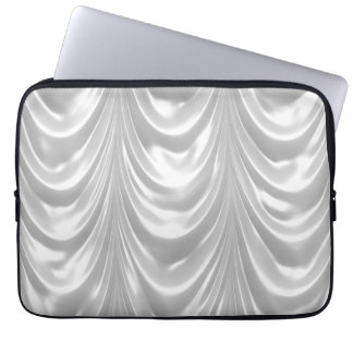 Bridal White Ruched Satin Fabric Scalloped Pattern Laptop Sleeves