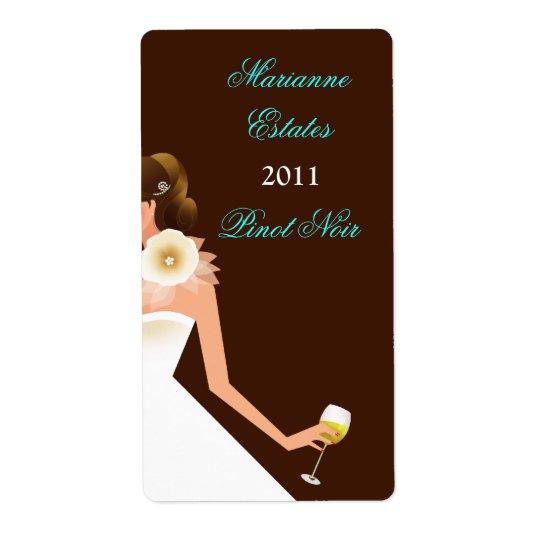Bridal Wine Invitation (Brunette on brown w/white) Shipping Label