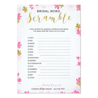 Bridal Word Scramble | Pink Gold Floral Card
