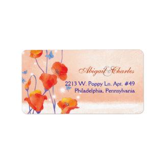 BridalHeaven Red Poppy Wedding Address Labels