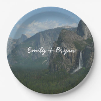 Bridalveil Falls and Half Dome at Yosemite Paper Plate