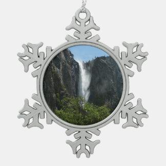 Bridalveil Falls at Yosemite National Park Pewter Snowflake Decoration