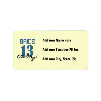 Bride 13 Oh My Blue Address Label