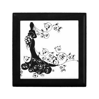 Bride Abstract Wedding Silhouette Design Small Square Gift Box