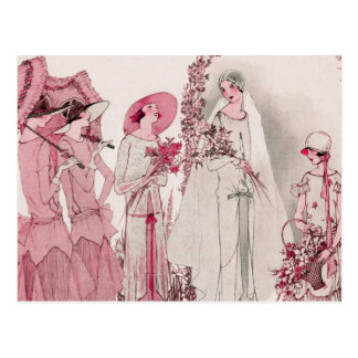 Bride and attendents postcard