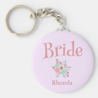 Bride and Beauty Bouquet of Flowers Key Ring